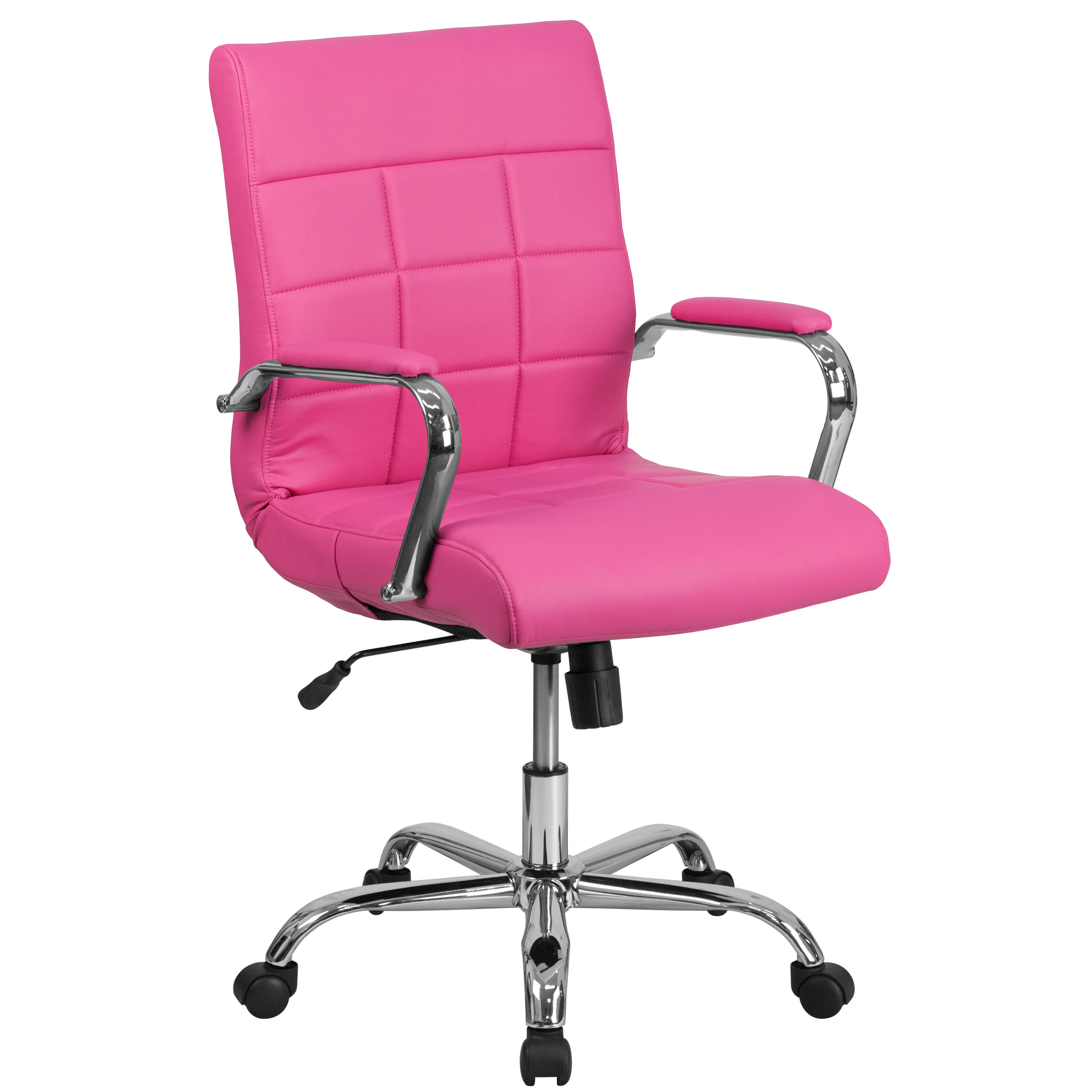 Pink Office Chairs Mid Back Pink Vinyl Executive Swivel Office Chair With Chrome Base And Arms