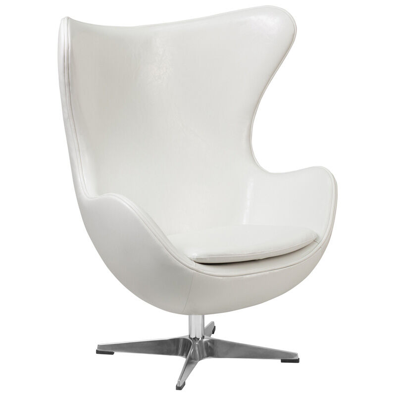 Egg Chairs For Sale Cheap Melrose White Leather Egg Chair With Tilt Lock Mechanism