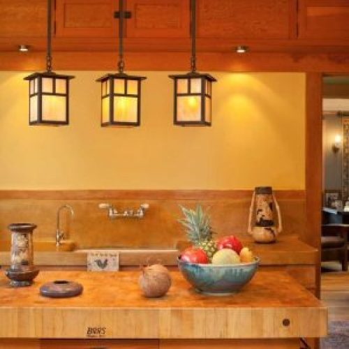 Simple pendant lighting for craftsman style kitchen
