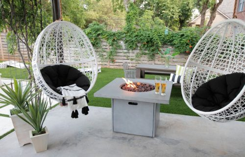 Fire pit with hanging egg chair