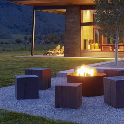 Fire pit with wood beam seating