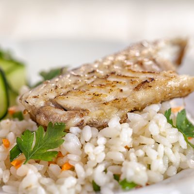 Grilled fish  fillet of on risotto