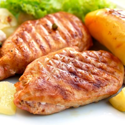 grilled-roasted schnitzel of turkey meat with vegetables