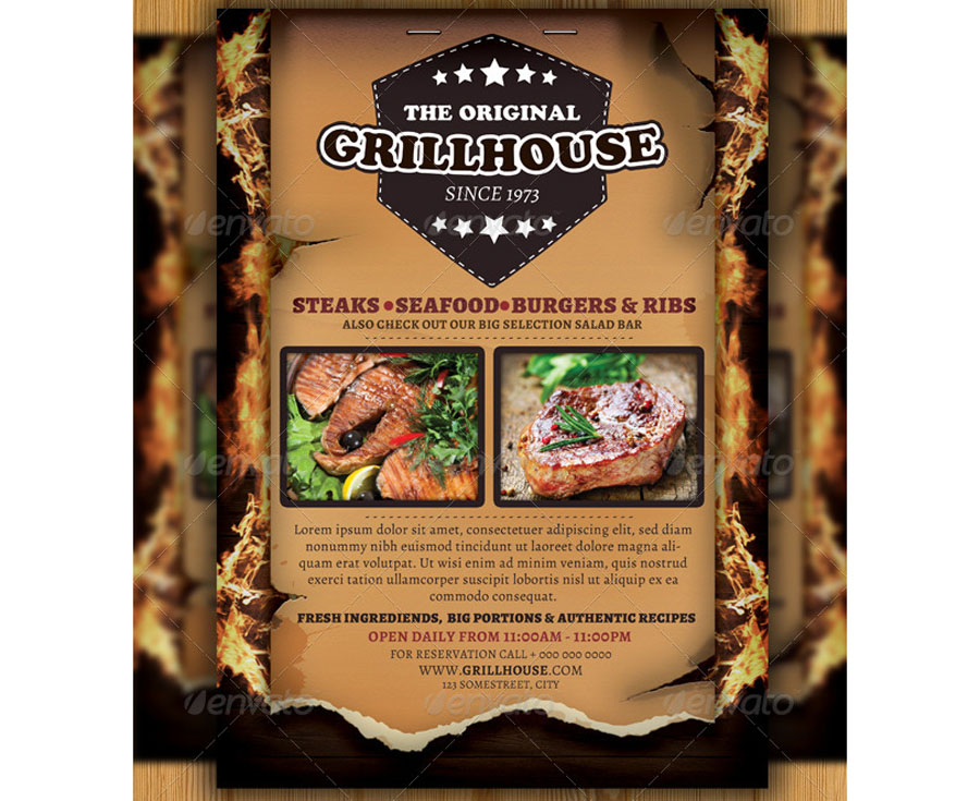 Grill Restaurant Flyer Steakhouse