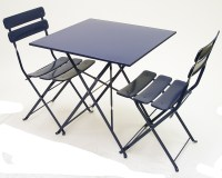 Carolina In-Outdoor Metal Folding Blue Side Chair ...