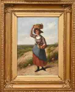 Otterbeek -vrouw met manden - schilderij na restauratie