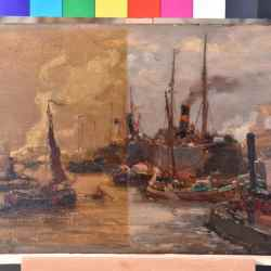 schilderij reinigen nicotine aanslag – links vuil, rechts schoon