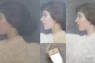 Restauratie schilderij - damesportret 5