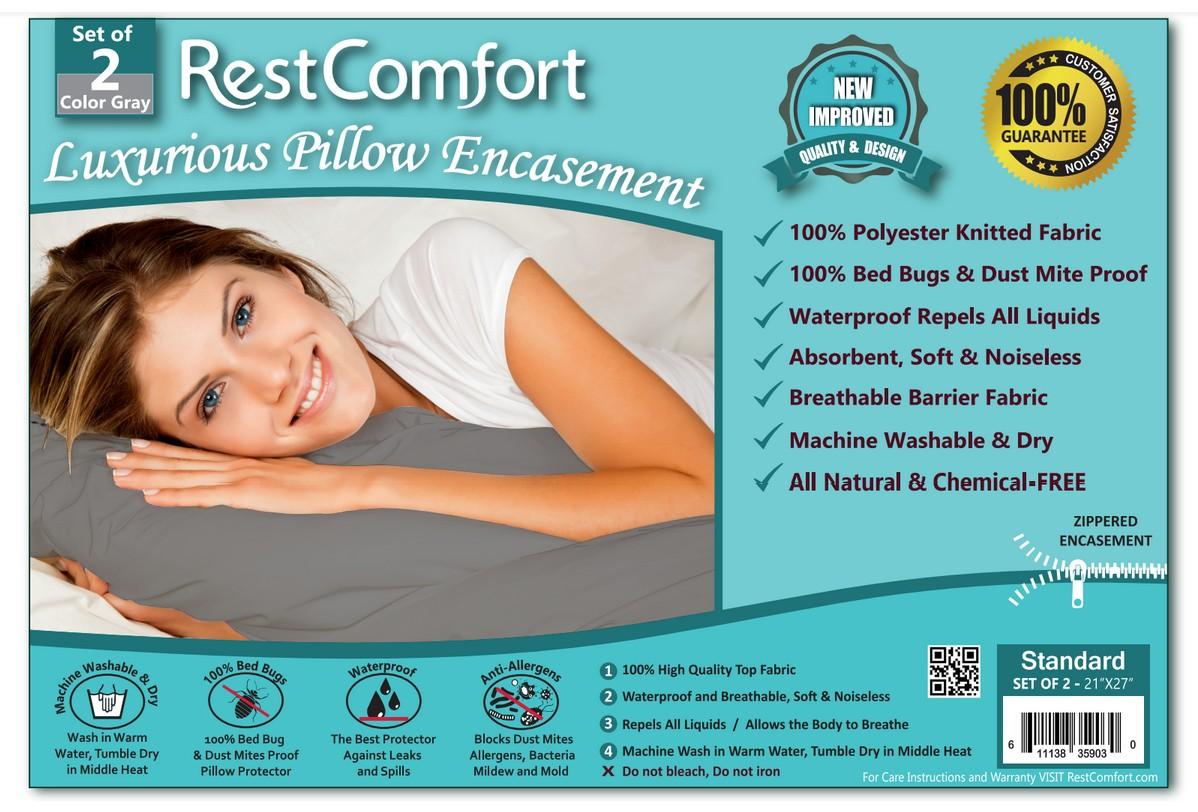 set of 2 gray bed bug and dust mite bacteria allergy proof waterproof pillow protectors
