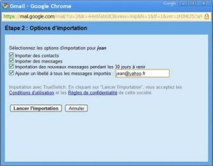 Gmail : import des courriers et des contacts