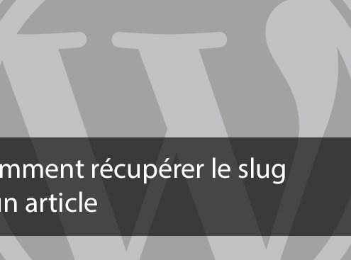 Comment récupérer le slug d'un article