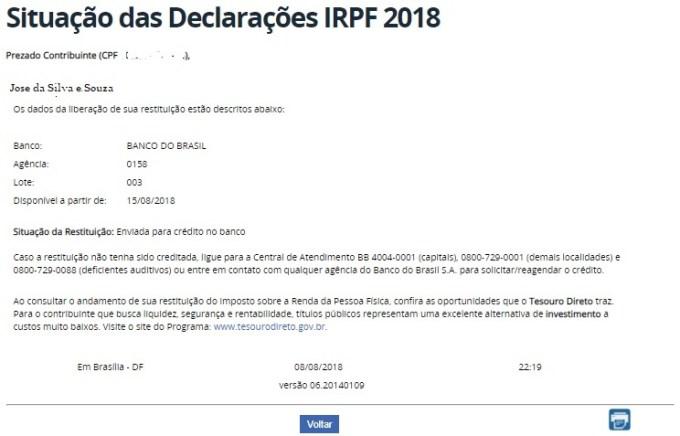 quinto lote derestituição imposto de renda