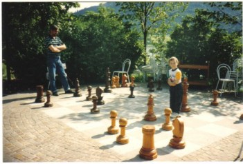 Chess pieces by the lakeshore at Fuschl, Austria