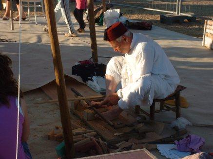 Working the wood lathe