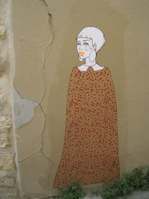 A sample of modern artwork in the nearby passage