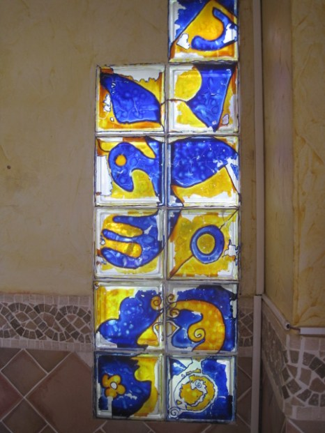 Stained glass panel in the cafe