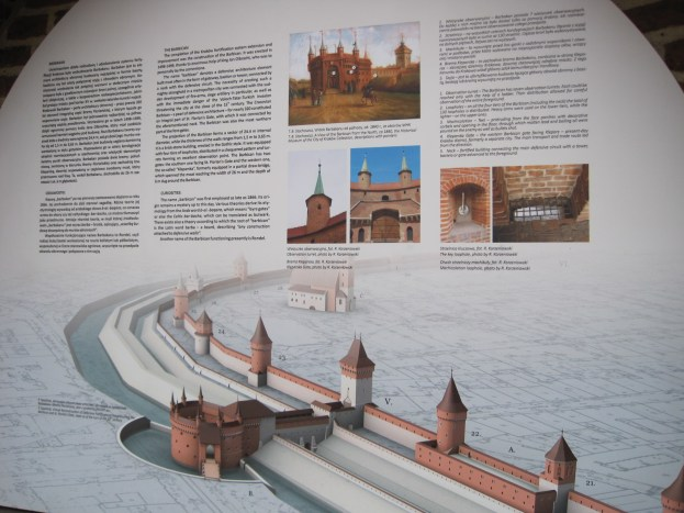 There are information boards detailing the original structures