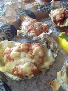 Grilled Gulf oysters with parmesan and ham, courtesy David Hammond