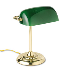 "Traditional Banker's Lamp, 14"" High, Green Glass Shade, Brass Base"