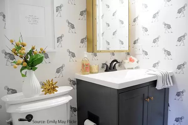 signs of water damage in the bathroom