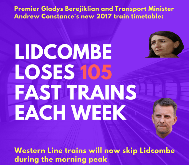 Lidcombe: Massive cuts to fast trains and increasing travel times