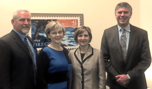 Roger Roper (left) at Preservation Lobby Day, 2013. Also pictured are Peggy Moretti, Congresswoman Bonamici, and Brett Estes (Restore Oregon photo)