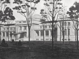 Architect's drawing of Dome Building, 1909 (Image courtesy University of Oregon Libraries)