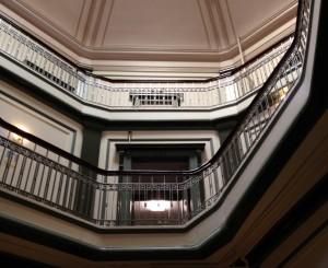 Interior of the Dome Building, showing central atrium stairwell  (Restore Oregon photo)