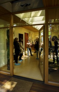 Tour-goers in the new gallery area of the Belluschi House(photo by Drew Nasto)