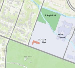 Location of Howard Hall and Pringle Park (Base map courtesy City of Salem)