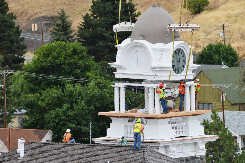 Clock tower restoration. Photo courtesy E.J. Harris/East Oregonian
