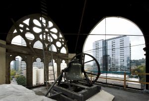 Tower bell and missing tracery panel (photo: Drew Nasto)