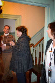Tour duty! SRPT President Jay Lilly (on left) helps out Charles County Docent Carin (on right) at Stagg Hall.