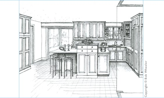 How to draw a 2 point perspective kitchen