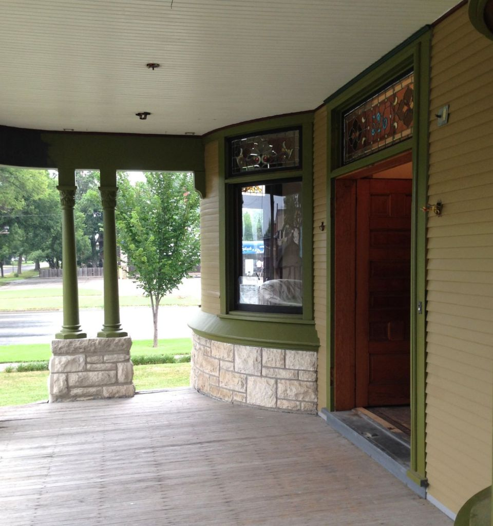 The front porch, looking north, June 2014. The ceiling is not yet repainted (it will be a pale olive).