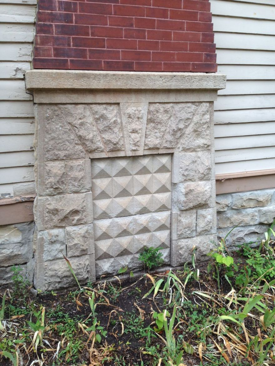 I know! Incredible! The exterior base of the 180s foyer fireplace.
