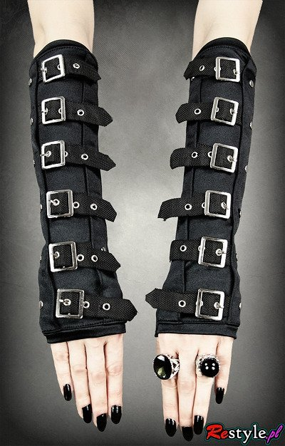 Gothic Arm Warmers Gloves With Buckles ACCESSORIES