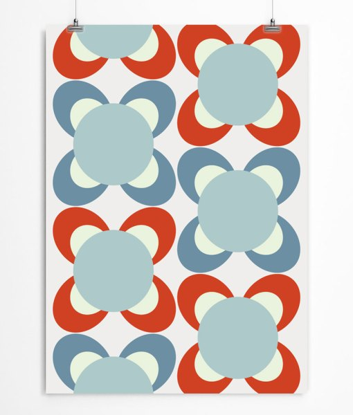 Blossom Pattern Print Red Blue