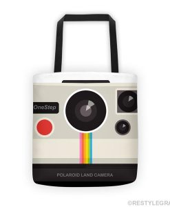 Retro camera tote bag on white