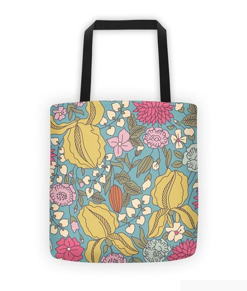 Floral sketch color tote bag on white