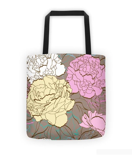 Peonies tote bag on white