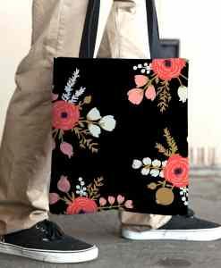Roses Black Tote Bag