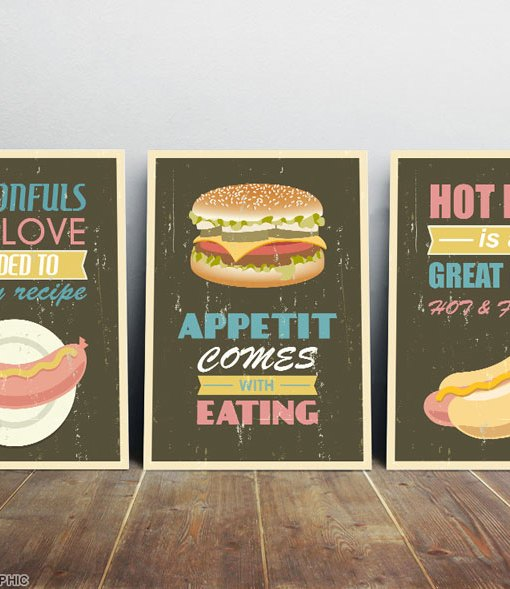 American food print set from three