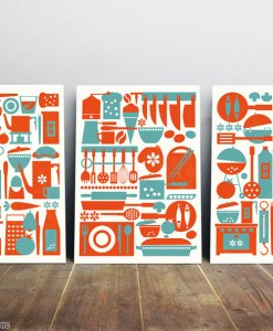 Kitchen art print set from three