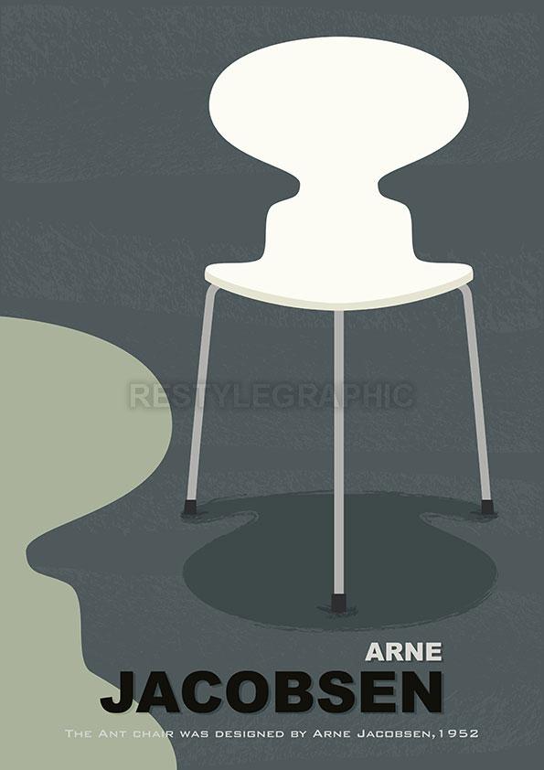 Arne Jacobsen chair poster