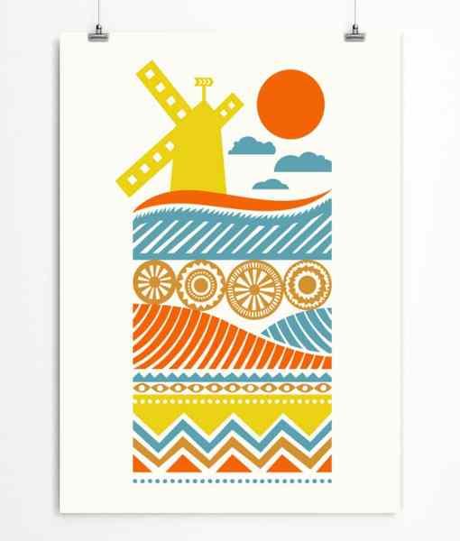 Nordic windmill print