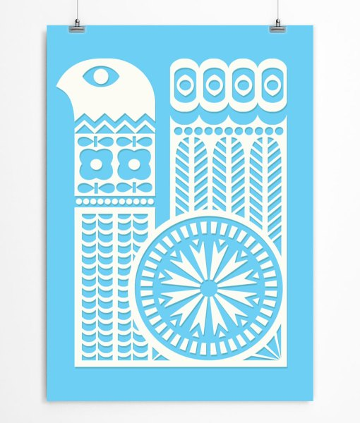 Bird ornament poster blue