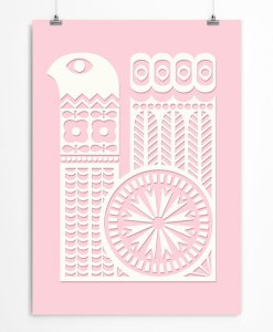 Bird ornament poster pink