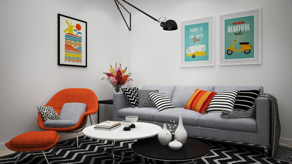 Living room with Windmill art print