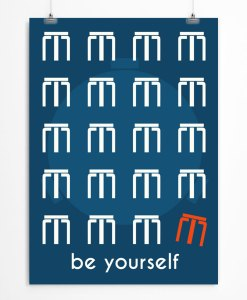 Be yourself quote Blue poster